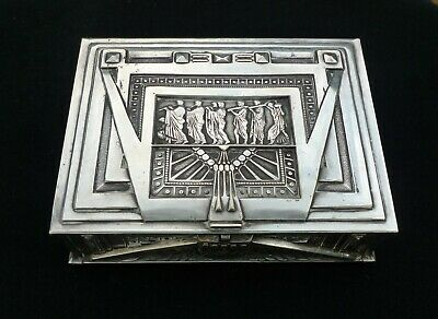 Antique Art Nouveau Deco silver plated old vintage jewelry or cigar box case