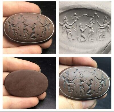 Very Beautfull Agte Stone Ancinet Intaglio Man With Wings Craved Stamp Seal Wax