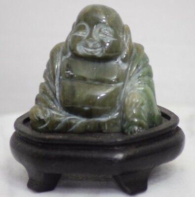 Asian Antique Hand Carved Jade Buddha Statue On Wooden Stand Tao Chinese Japan