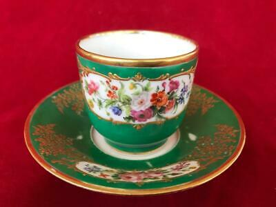 Fine Antique French Sevres Paris Porcelain Hand Painted Cup And Saucer.
