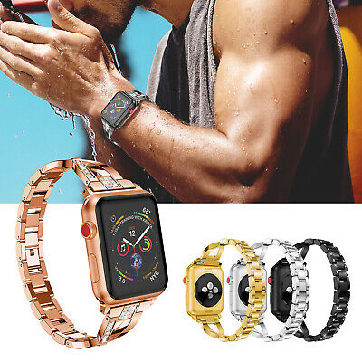 Girl Lady's Diamante Metal Link Wrist Band For Apple Watch 5 4 3 2 38/40/42/44mm