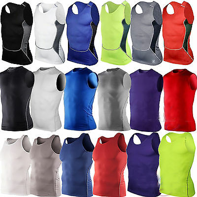 Mens Armour Compression Sports Fitness Gym Vest Base Layer Sleeveless Tank Tops