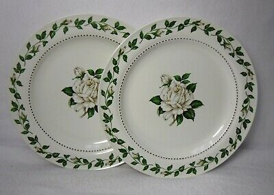 """HALL china CAMEO ROSE pattern Set of 2 Luncheon or Breakfast Plates - 9"""""""