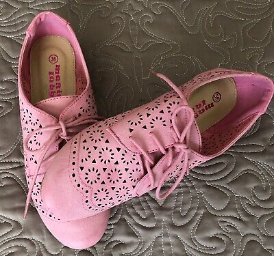 Pink moccasin laces girls summer shoes european size 36 - uk 3.5