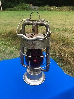 Antique 1907 Dietz Fire King Lantern Fireman's Lantern Red Flashed Globe