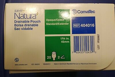ConvaTec REF # 404016 SUR-FIT NATURA DRAINABLE POUCHES - 20 ostomy bags per box