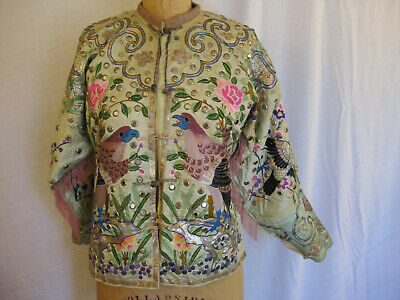 Vintage 19th century Chinese embroidered silk jacket w/ beaded fringe & mirrors