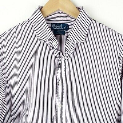 Polo by Ralph Lauren Mens Pink Stripe Shirt Size XL 17.5in Regent Custom Fit