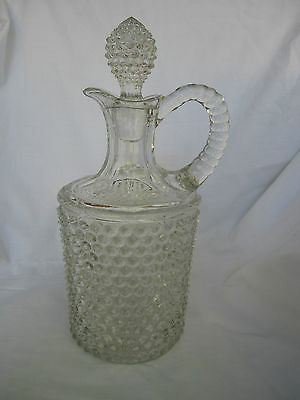 Antique Thousand Eye Eyes Hobnail Pitcher Decanter blown & pressed vintage glass