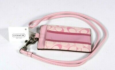 New COACH Chelsea Lanyard ID Case Baby Pink Stripe Signature C's