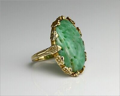 Rare Vintage 14k Solid Yellow Ornate Gold & Carved Jade Ring - Small Size 4.75