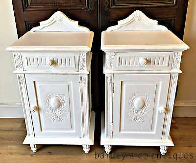 Antique French Pair of Bedside Cabinets Louis Style Painted Drawers - AJ111
