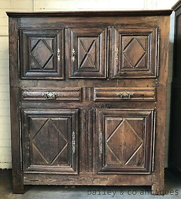 Antique French Cabinet Armoire Rare 18th Century Solid Carved - OK130