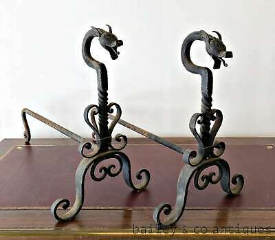 Antique French Rare Pair of Dragon Chenets Anndirons Fire Dogs - PQX222