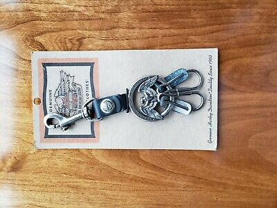 Vintage Harley Davidson Motorcycle Standing Eagle Leather Fob Key Chain 1998 New