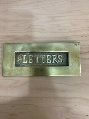 Vintage Solid Brass Letter Delivery Door Chute Mail Box Door Plate.
