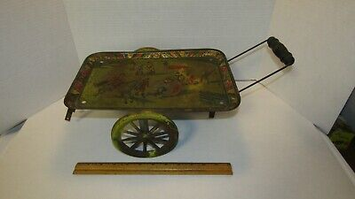 antique Circus tin toy child pull toy Victorian era unusual litho tray (as found