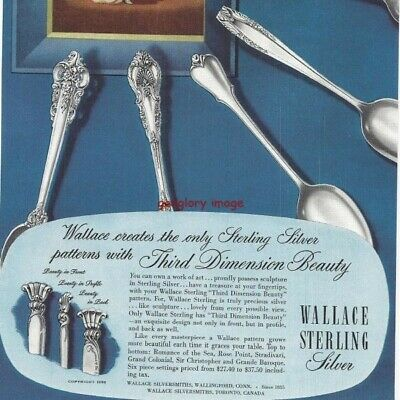 1950 Wallace Sterling Silver 2 Vintage Print Ads Lovely Beauty From Every View s