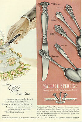 1951 Wallace Sterling Silver Flatware Vintage Print Ad Third Dimension Beauty s