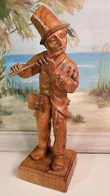 "Wood Hand Carved Figurine Man Playing Flute Vintage 10"" Bird Basket German RARE"