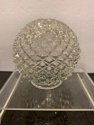 "Vintage Pressed Cut Clear Diamond Glass Lamp Light Shade Globe 2.5"" Fitter"