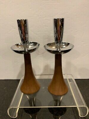 Mid Century Modern Milbern Creations Wood And Chrome Candle Holders   (2)