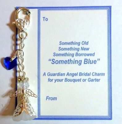 Something Blue Good Luck Bridal Angel Charm for Bouquet/Garter Gift Tag & Bag