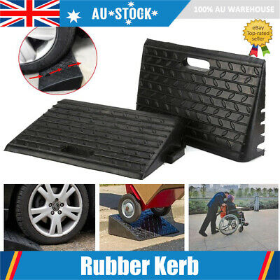 2x Kerb Ramps heavy Duty Rubber Portable Curb Gutter trucks cars hand trolleys