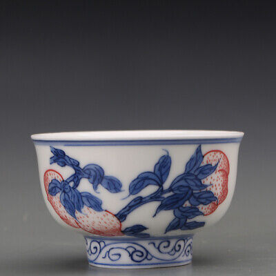 """3.1"""" Chinese Old antique Porcelain Blue white Underglaze red Carved Peach Teacup"""