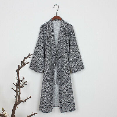 Black/Gray Bathrobe Robe Mens Cotton Soft Holiday Fit Nightwear Sleepwear Long