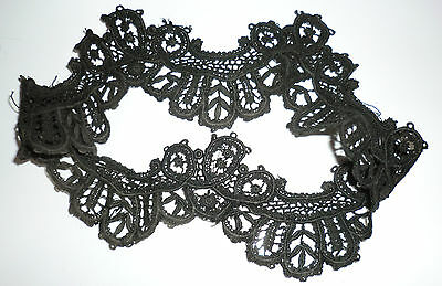 """Antique Vintage Edwardian Victorian Mourning Black Lace Cuff 16"""" Hand Made Trim"""