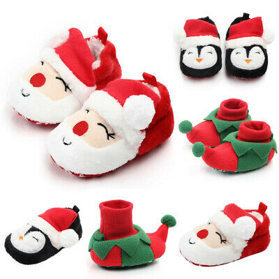 Christmas Newborn Toddler Baby Boy Girl Soft Prewalker Shoes Pram Trainers Socks