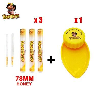 HONEYPUFF 1X 40MM Yellow Plastic Herb Grinder+3X Honey Flavored Pre Rolled Cones