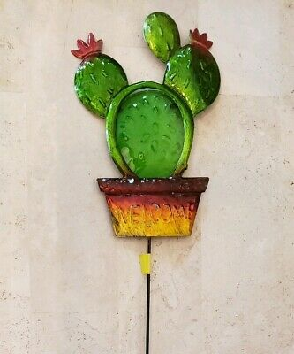 """Garden Stake Cactus Welcome True Living Outdoors Yard Decor Green Red 21"""" New"""