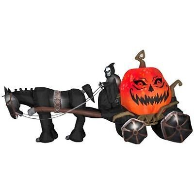 Halloween 14 Ft Fire & Ice Grim Reaper Carriage With Sound Inflatable Airblown