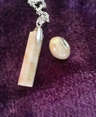 💜Breast Milk 💜gold or silver Leaf&Glitter Pendant+charm Bead/seeDel Time,