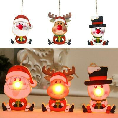 Xmas Decorations LED Pendant Wooden Hanging Ornaments for Christmas Tree