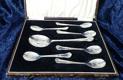 Vintage Silver Plated 7-piece Berry Spoon Set - Kings Pattern Handles