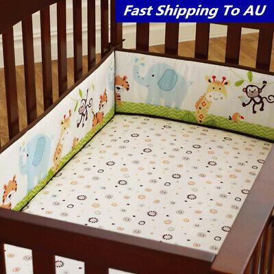 4Pcs Baby Infant Cot Crib Safety Bumper Toddler Nursery Bedding Bed Protector