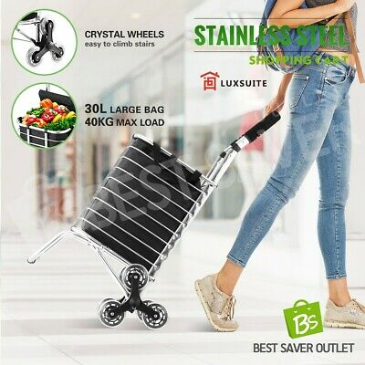 Collapsible Stainless Steel Shopping Cart Trolley Grocery Storage Bags w/ Wheels