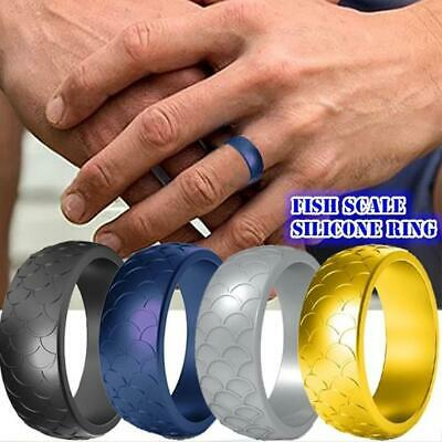 Fish Scale Silicone Ring Men Women Sports Wedding Flexible Rubber Bands
