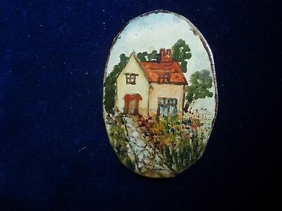 Antique FOLK ART CHARMING Hand painted Country Cottage Brooch. QUIRKY UNIQUE.