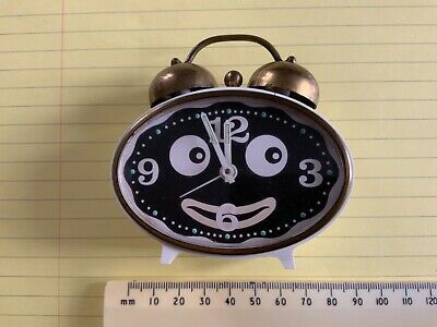 Vintage Wind Up Alarm Clock West Germany Working Oval With Eyes & Mouth Novelty