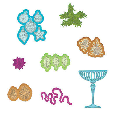 NEW Heartfelt Creations Merry And Bright Accents 8 Piece Christmas Craft Dies