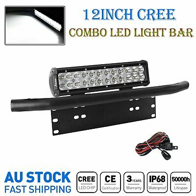 12'' Combo CREE LED Light Bar +23'' Black Number Plate Frame Mount Bracket +Wire