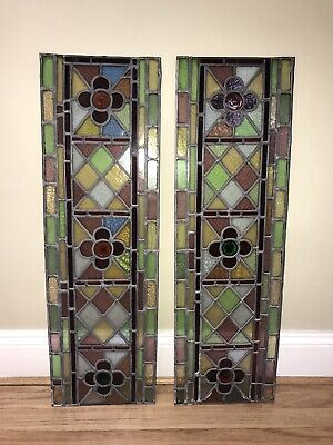 Stunning Victorian Antique leaded stained glass panels