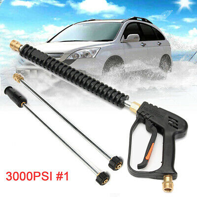 3000PSI High Pressure Power Washer Car Water Spray Gun Lance + 2 Extension Wand