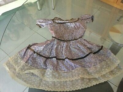 Antique silk floral  dress for your antique doll ca 1900s+ No 4