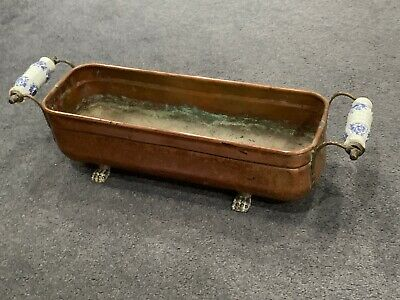 Vintage Copper Trough Tub Planter  with Delft Ceramic Handles and Lion claw feet