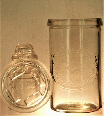 ANTIQUE BOTTLE RARE FOWLERS PATENT VACOLA N0 45 HOME PRESERVING JAR & LID 1920's